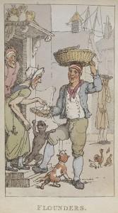 男性から食べ物を買う女性とそれに群がる犬を書いた漫画