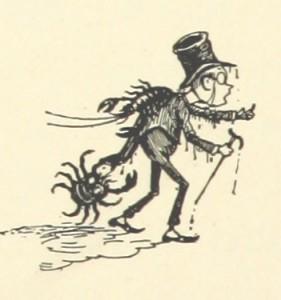 シルクハットの男性を挟む蟹の漫画