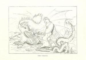 ドラゴンと戦うナイトと犬