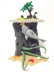 レゴで作った大きなサメと触手