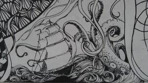 大きなイカが船を襲う白黒の絵