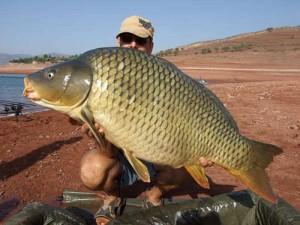 巨大魚を釣った男性