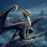 ドラゴンに乗る西洋の甲冑を着た騎士