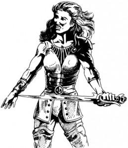 皮の鎧を着て手に剣を持つ女性