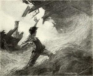 波のうねりと建物の崩壊を左手を天にかざし止めようとする男性