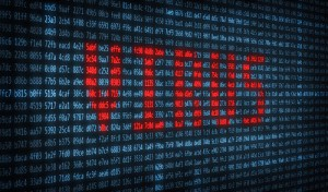 電光掲示板に表示されるVirusの文字