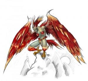 ハ人の形を成しているが、両腕、両脚は鳥の翼とかぎ爪を模したハーピー風のイラスト