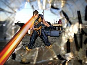 エックスメンのサイクロプスがメカラビームでガラスを割る