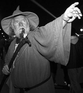 右手に杖を持ち、ローブと帽子を被り、白い髭を生やした老人