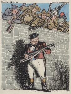 手に銃剣を持ち城壁の上にいる複数の男性達とシルクハットを被り城壁前に立つ男性の風刺画