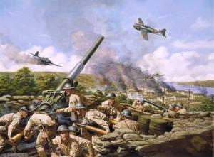 対空砲で戦闘機を迎え撃つ兵士達の漫画