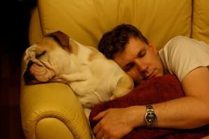 犬を枕にソファで寝る男性