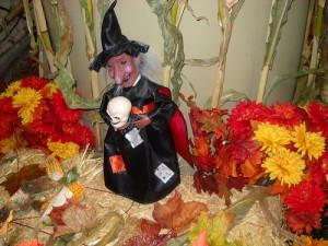 髑髏を持つ魔法使いのおばあさんの人形
