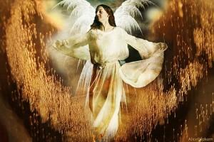 天使の様な羽と白い服を着た姿をした女性