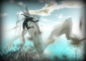 えび反りして宙を舞う人影の周りを風の帯が広がる